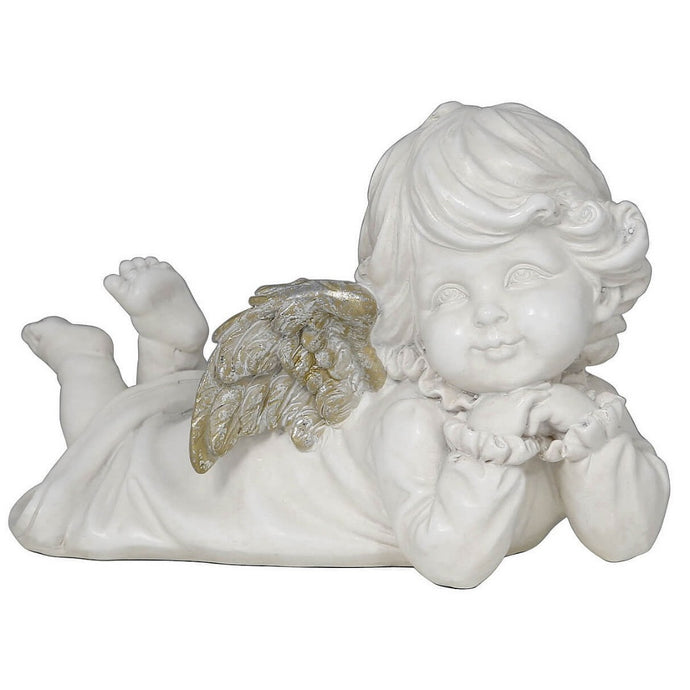 Laying Right Facing Angel Cherub Antique Silver White Memorial Decorative Ornament