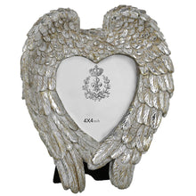 Load image into Gallery viewer, Mother of Pearl Angel Wing & Heart Memorial Photo Frame (4 x 4 inch) - Angraves Memorials
