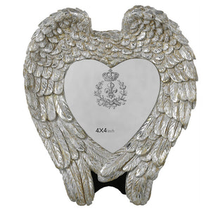 Mother of Pearl Angel Wing & Heart Memorial Photo Frame (4 x 4 inch) - Angraves Memorials