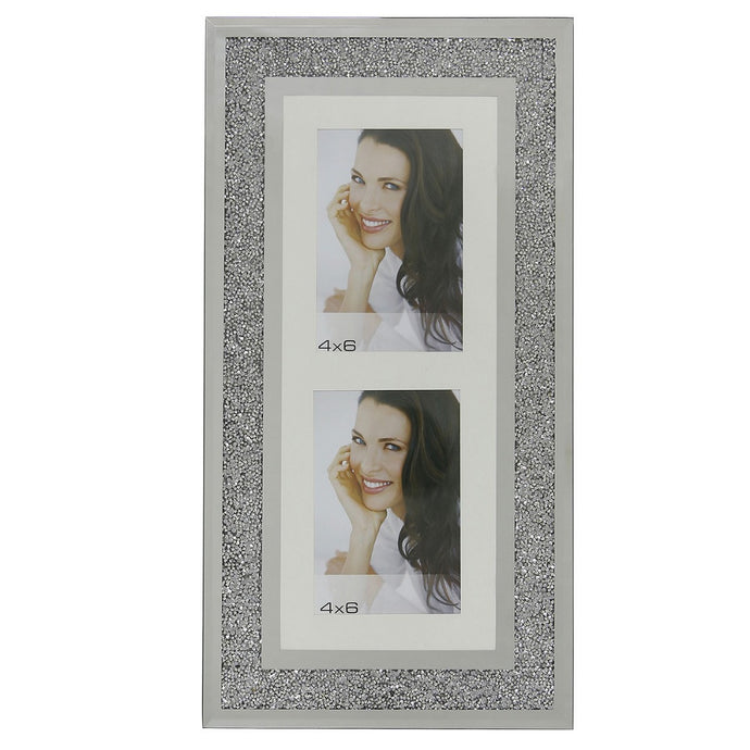Wall Hanging Diamond Crushed Silver Mirror 2 Aperture Photo Frame
