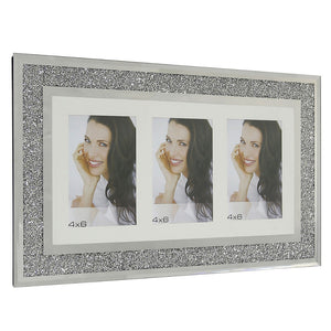 Wall Hanging Diamond Crushed Silver Mirror 3 Aperture Photo Frame