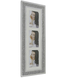 Wall Hanging Diamond Crushed Silver Mirror 3 Aperture Vertical Photo Frame