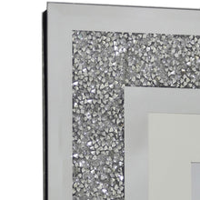 Load image into Gallery viewer, Wall Hanging Diamond Crushed Silver Mirror 3 Aperture Vertical Photo Frame