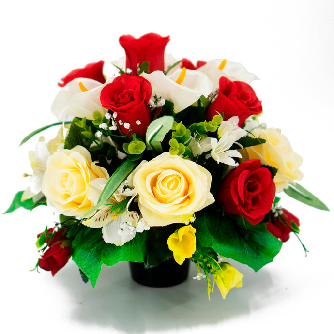Dave Red & Yellow Rose Artificial Flower Memorial Arrangement