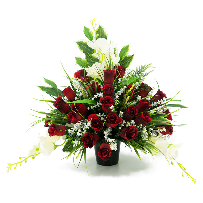 Lucas Red Rose Artificial Flower Memorial Arrangement