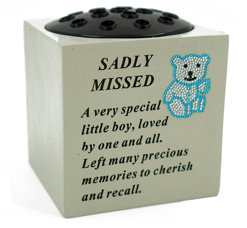 Sadly Missed Baby Blue Diamante Teddy Flower Vase - Angraves Memorials