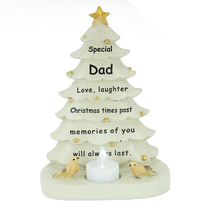 Special Dad Christmas Tree & Robin Memorial Tealight Candle Ornament