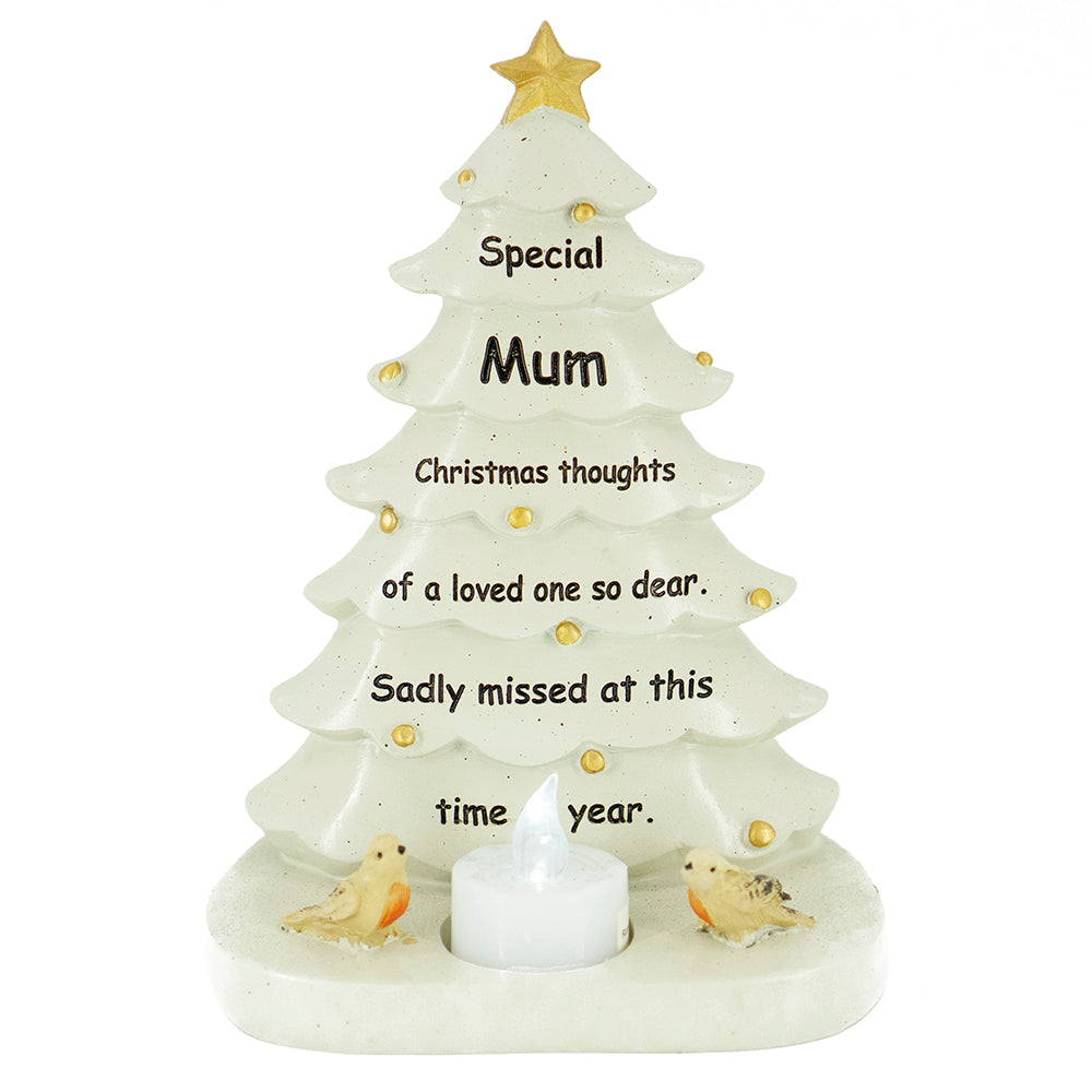 Special Mum Christmas Tree & Robin Memorial Tealight Candle Ornament