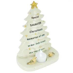 Special Daughter Christmas Tree & Robin Memorial Tealight Candle Ornament