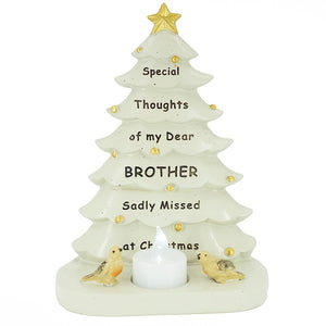 Special Brother Christmas Tree & Robin Memorial Tealight Candle Ornament Plaque With Verse
