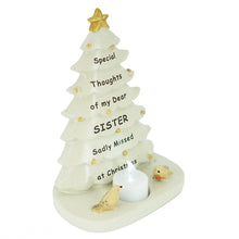 Load image into Gallery viewer, Special Sister Christmas Tree & Robin Memorial Tealight Candle Ornament