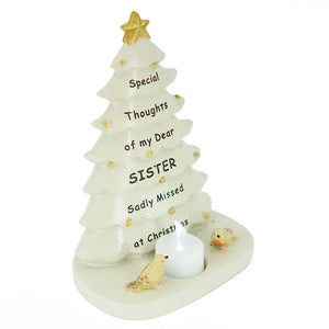 Special Sister Christmas Tree & Robin Memorial Tealight Candle Ornament