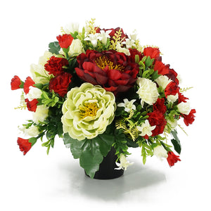 Merlot Red Peony Artificial Flower Memorial Arrangement