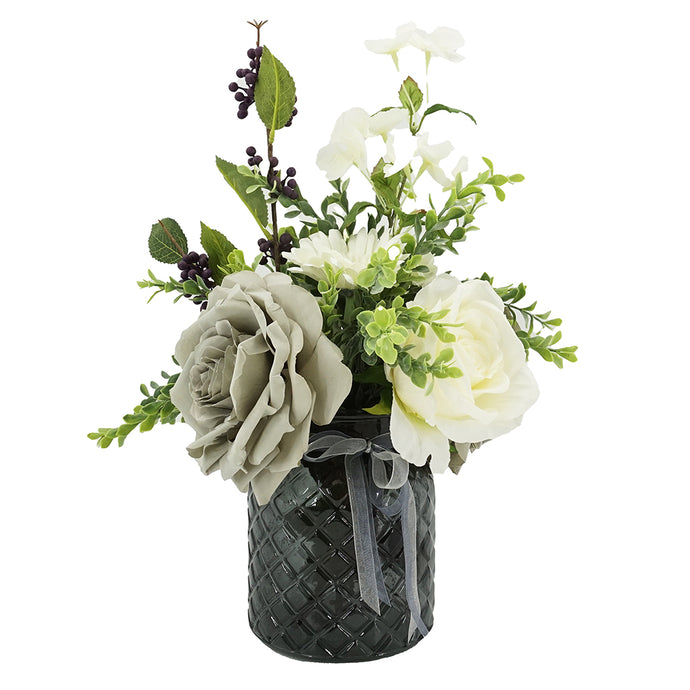Misty Grey Rose Artificial Flower Arrangement