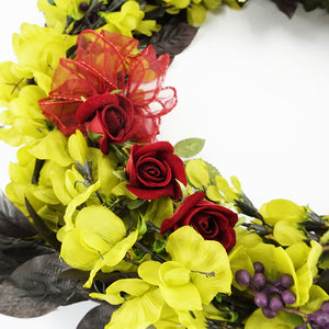 Christmas Green & Red Grave Memorial Artificial Flower Wreath