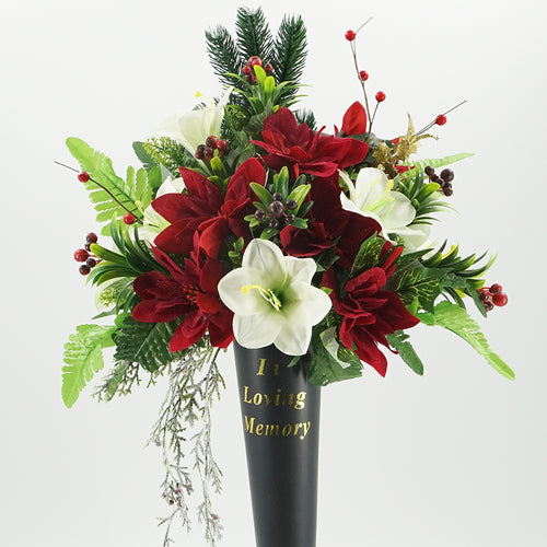 Bez In Loving Memory Vase with Christmas Artificial Flower Arrangement