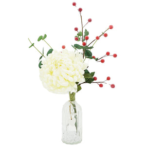 White Chrysanthemum & Christmas Berry Artificial Flower Arrangement
