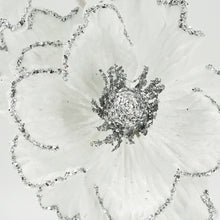 Load image into Gallery viewer, White Glitter Silver Peony Christmas Artificial Flower Arrangement