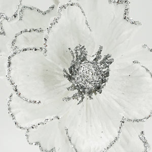 White Glitter Silver Peony Christmas Artificial Flower Arrangement
