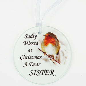Sister Christmas Robin Memorial Tree Hanging Decoration