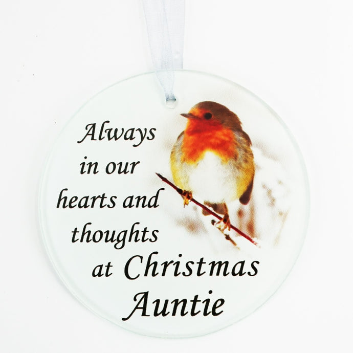 Auntie Christmas Robin Memorial Tree Hanging Decoration