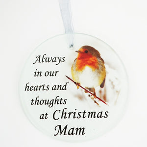 Mam Christmas Robin Memorial Tree Hanging Decoration