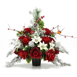 Robin Christmas Red Artificial Flower Memorial Arrangement