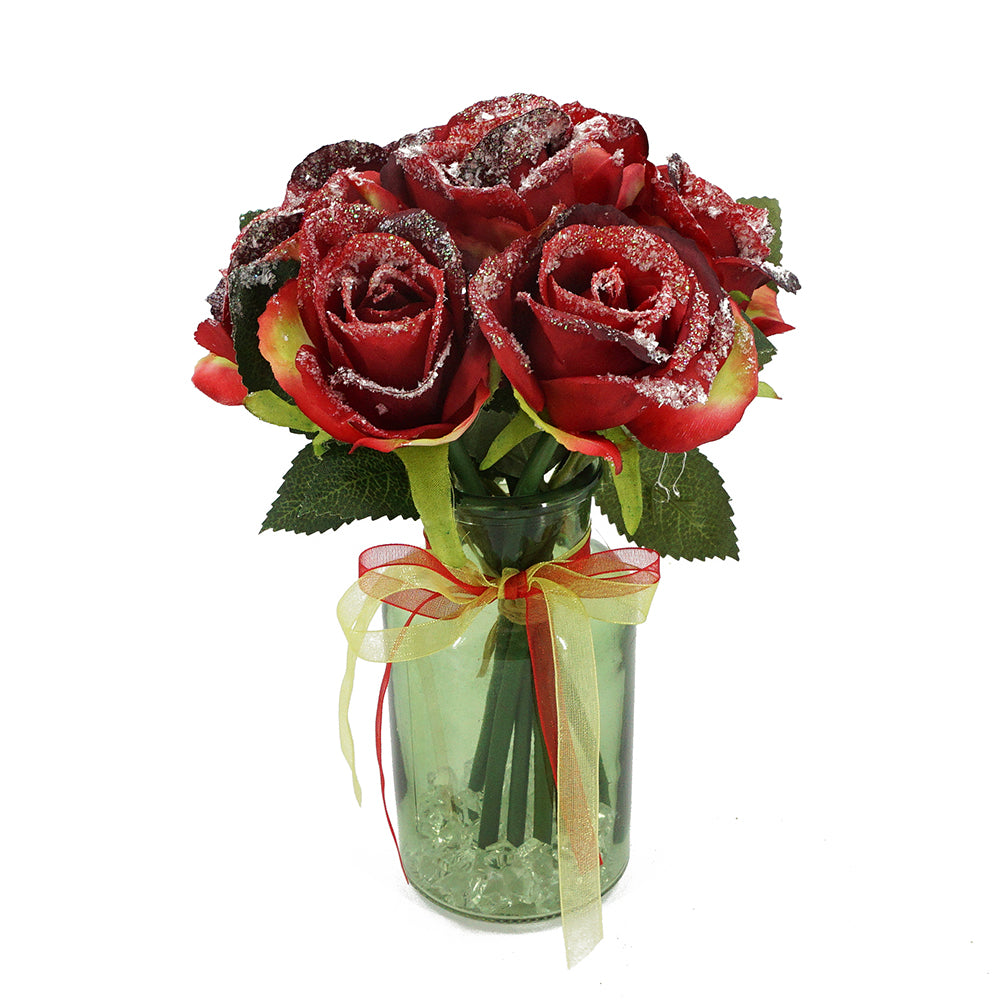 Christmas Frosted Glitter Red Bud Rose Artificial Flower Arrangement