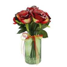 Load image into Gallery viewer, Christmas Frosted Glitter Red Bud Rose Artificial Flower Arrangement
