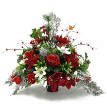 Load image into Gallery viewer, Avery Christmas Red Poinsettia Artificial Flower Memorial Arrangement