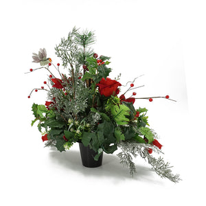 Avery Christmas Red Poinsettia Artificial Flower Memorial Arrangement