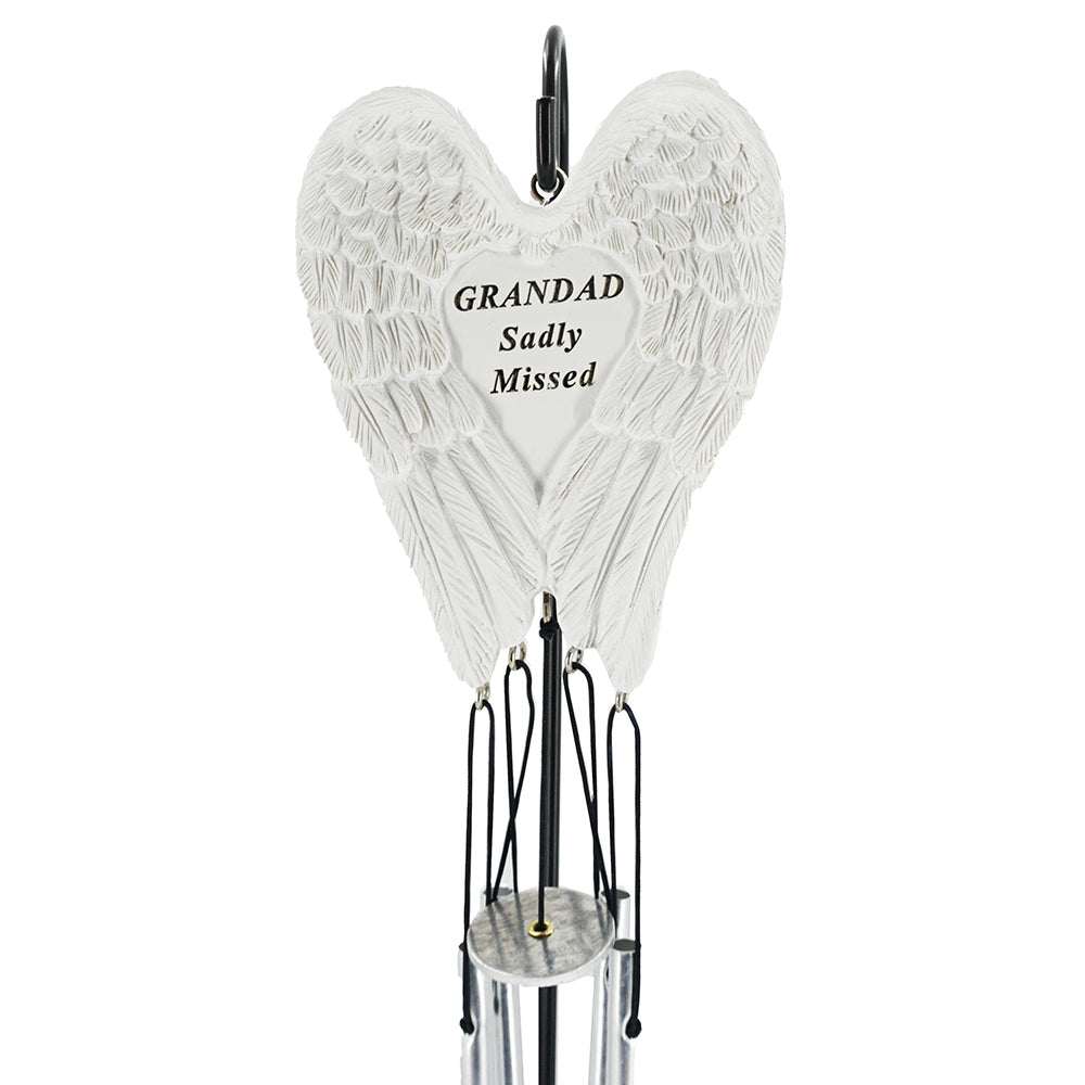 Grandad Sadly Missed Guardian Angel Wings Wind Chime
