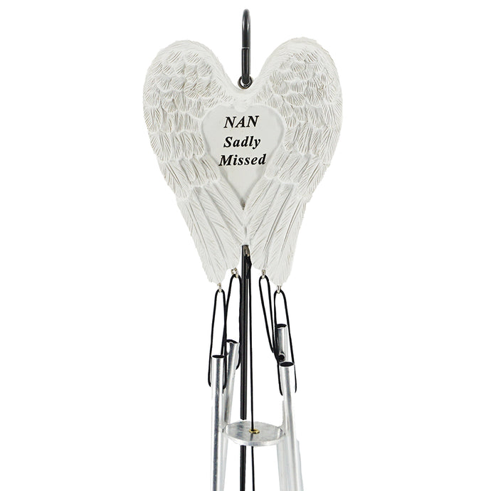 Nan Sadly Missed Guardian Angel Wings Wind Chime