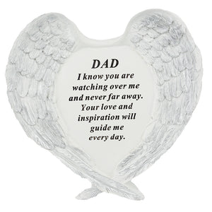 Dad Guardian Angel Heart Wings Graveside Memorial Plaque