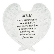 Load image into Gallery viewer, Mum Guardian Angel Heart Wings Graveside Memorial Plaque