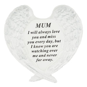Mum Guardian Angel Heart Wings Graveside Memorial Plaque