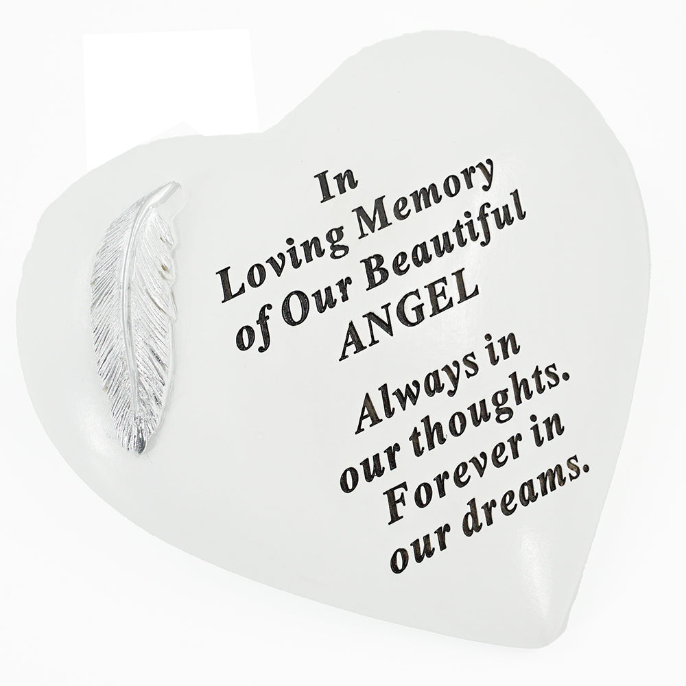 Beautiful Angel Graveside Memorial Feather Grave Plaque