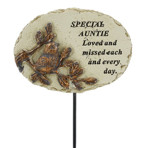 Special Auntie Love & Missed Bird Remembrance Stick