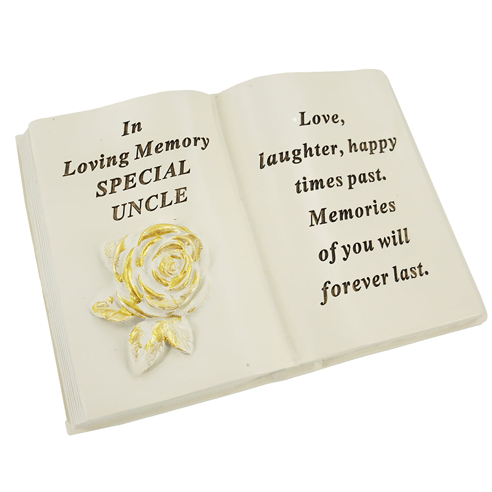 Special Uncle Brushed Gold Rose Memorial Book