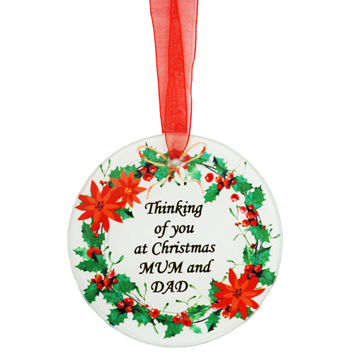 Mum & Dad Christmas Wreath Memorial Tree Hanging Decoration Gift Plaque Momento