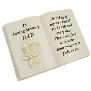 Special Dad Brushed Gold Rose Memorial Book