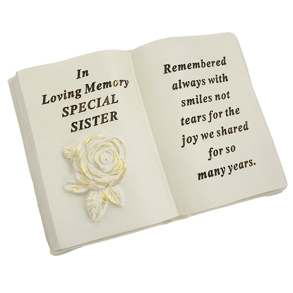 Special Sister Brushed Gold Rose Memorial Book