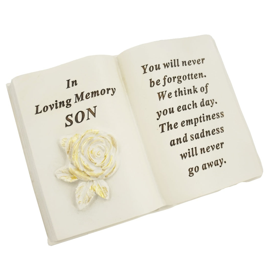 Special Son Brushed Gold Rose Memorial Book