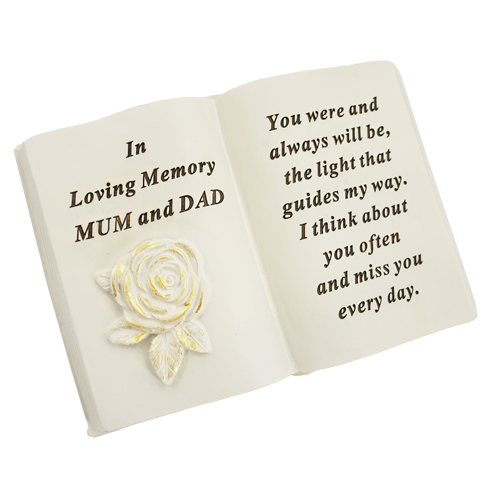 Special Mum & Dad Brushed Gold Rose Memorial Book
