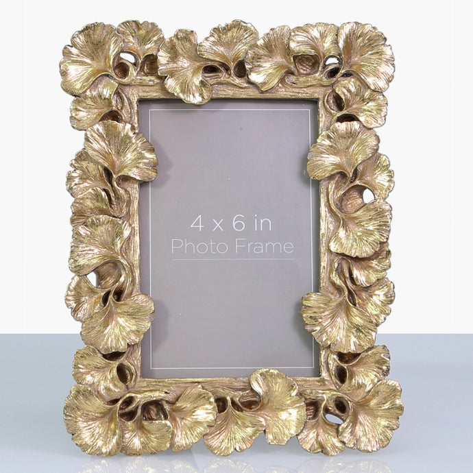 Gold Gingko Fan Leaf Photo Frame (4 x 6 Inch)