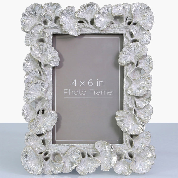 Brushed Silver Gingko Fan Leaf Photo Frame (4 x 6 Inch)
