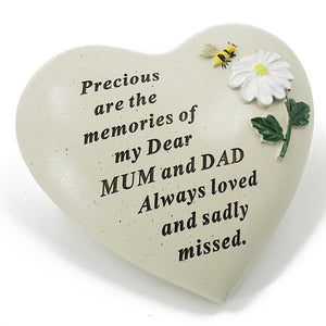Special Mum & Dad Daisy Flower & Bumble Bee Memorial Graveside Heart