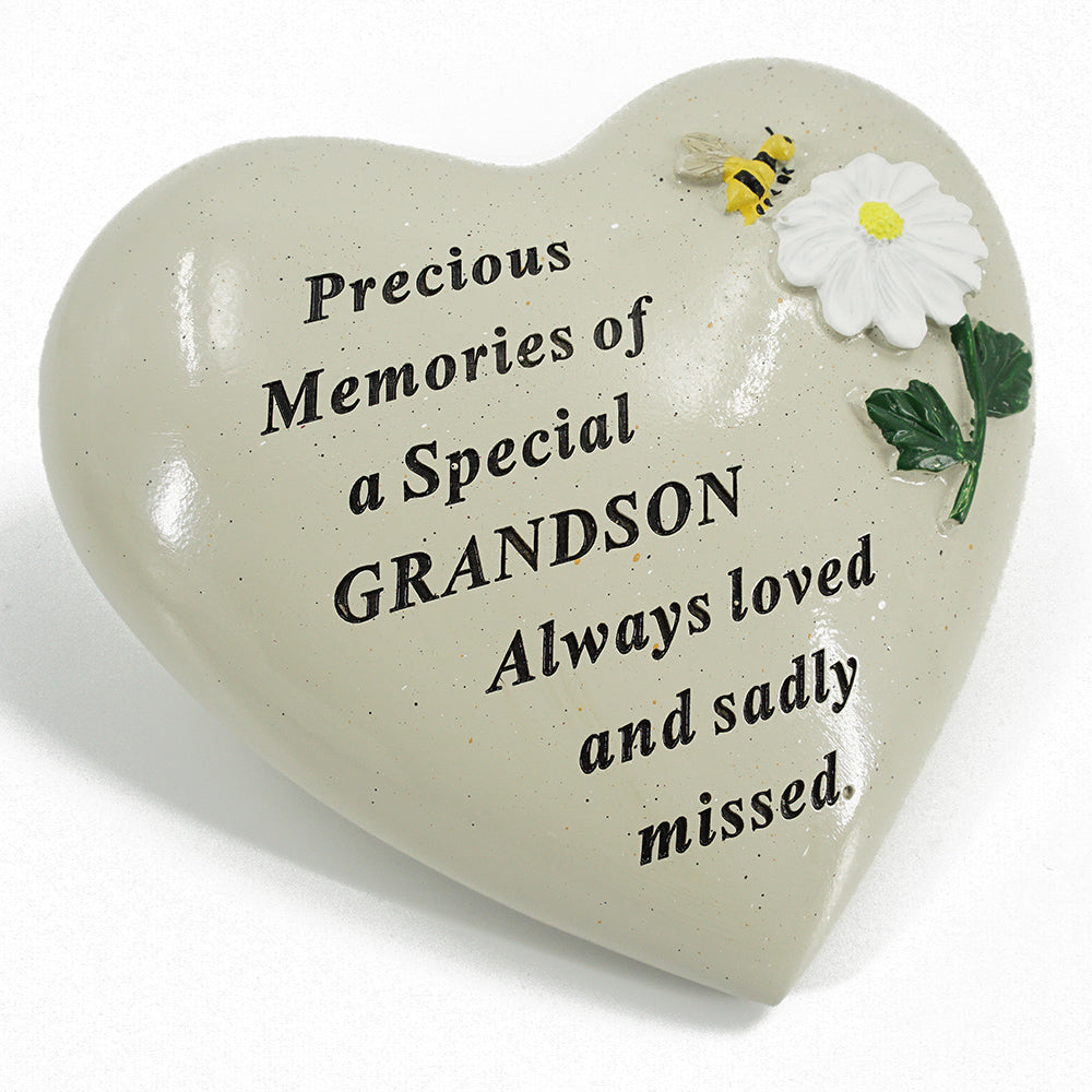 Special Grandson Daisy Flower & Bumble Bee Memorial Graveside Heart