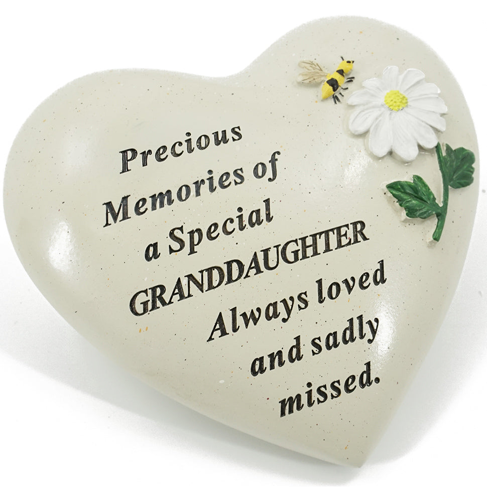 Special Granddaughter Daisy Flower & Bumble Bee Memorial Graveside Heart