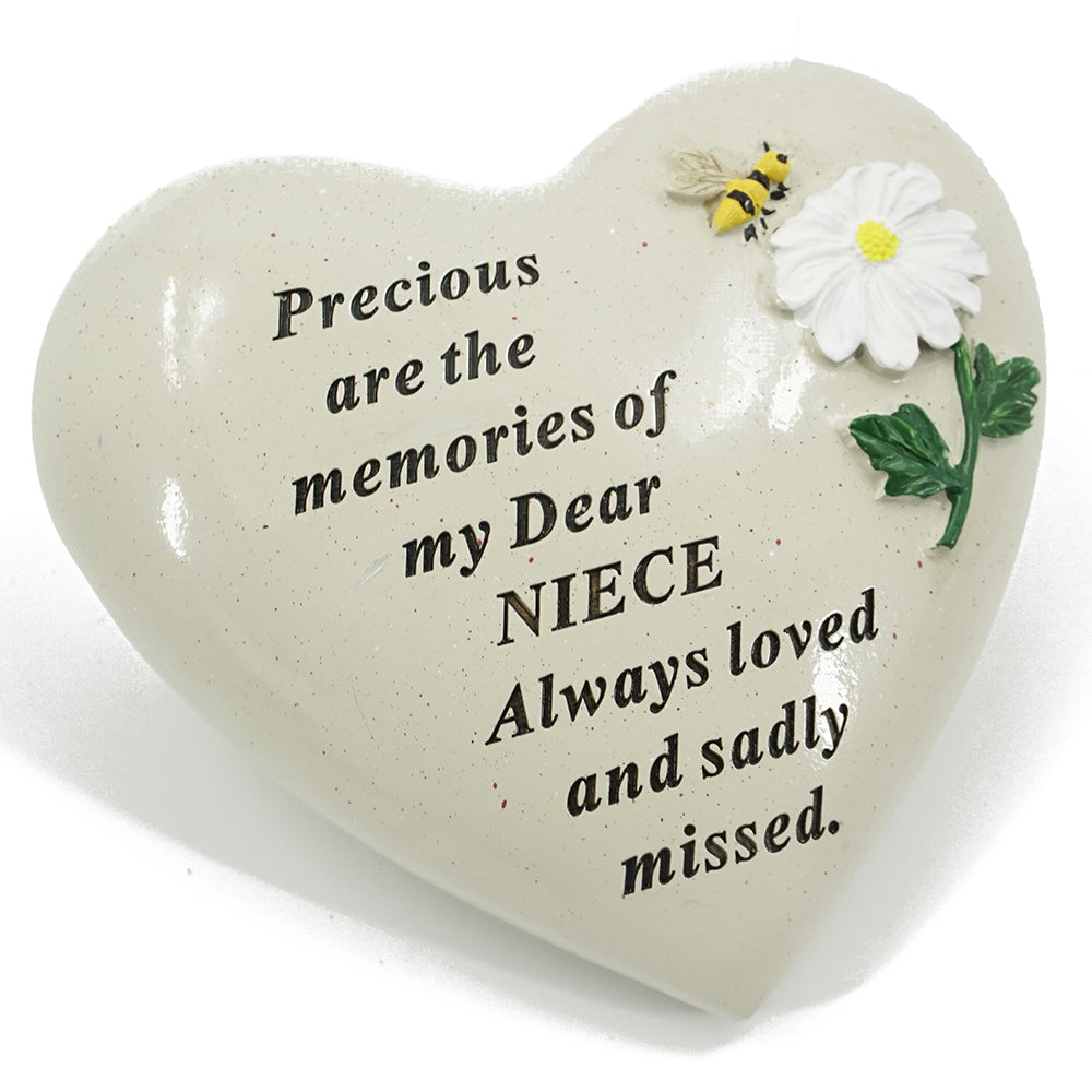 Special Niece Daisy Flower & Bumble Bee Memorial Graveside Heart